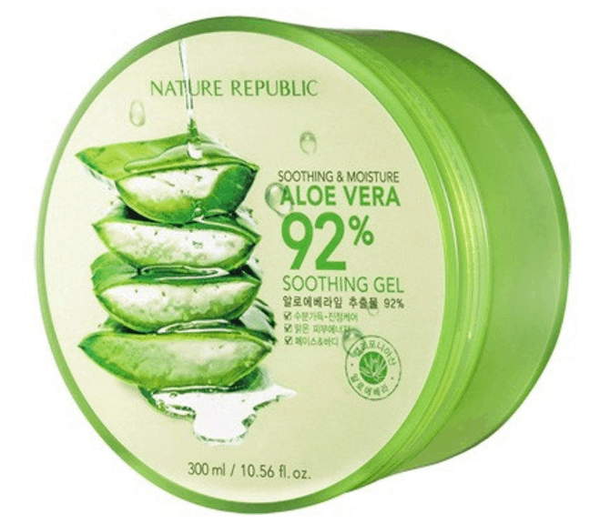 Nature Republic Soothing and Moisture Aloe Vera 92% Soothing Gel is the best aloe vera gel for face,