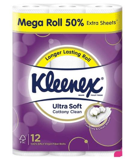 Kleenex Ultra Soft Cottony Clean Toilet Paper