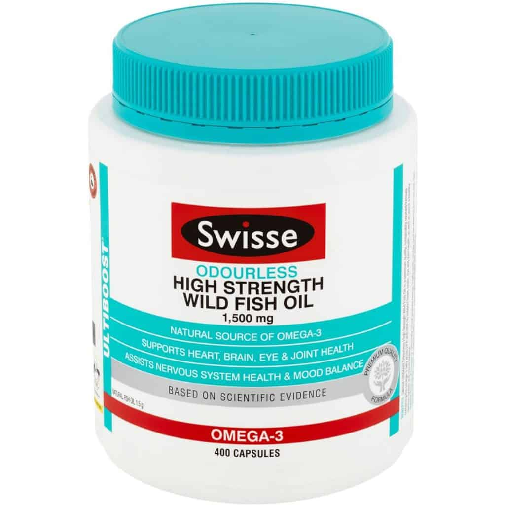 best fish oil singapore is Swisse Ultiboost Odourless High Strength Wild Fish Oil. 1500mg of natural source of omega 3, supports heart brain eye and joints health good for elderly and assist nervous system health and mood balance