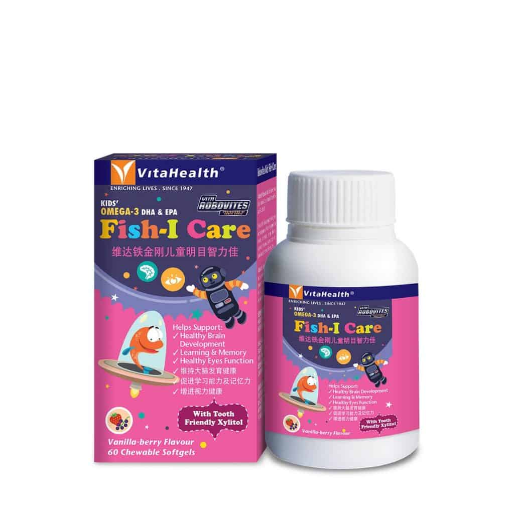 Vitahealth Robovites Kids Fish Oil is best omega 3 brand in singapore for kids, young children, fun and favored and helps supports healthy brain for growing son, growing daughter, pink robot and fish picture. kids love it and with tooth friendly xylite as well.