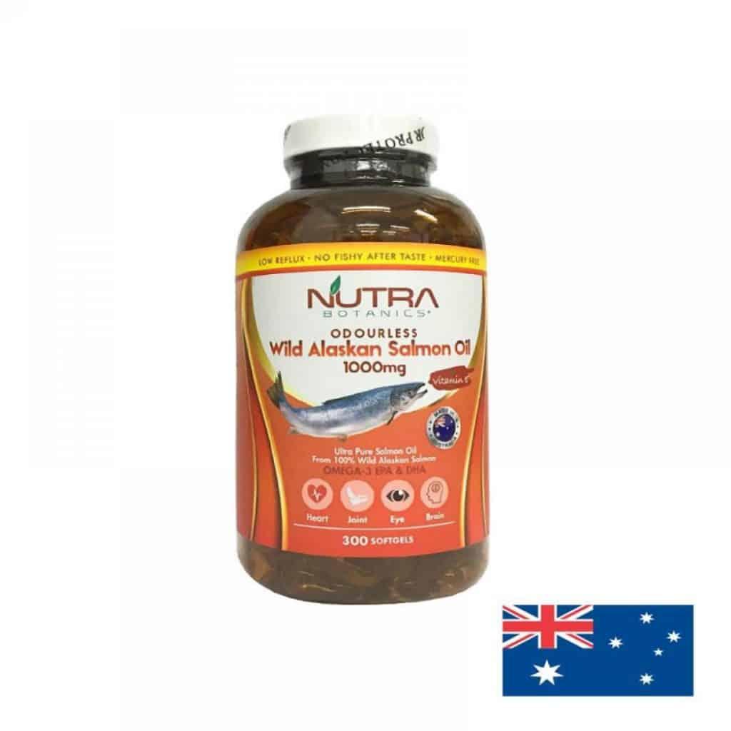 Nutra Botanics Odourless Wild Alaskan Omega-3 fish oil supplements singapore made in australia. the best ocean health fish oil. odourless and 1000mg, 300 capsules softgels, orange transparent bottle white cap.