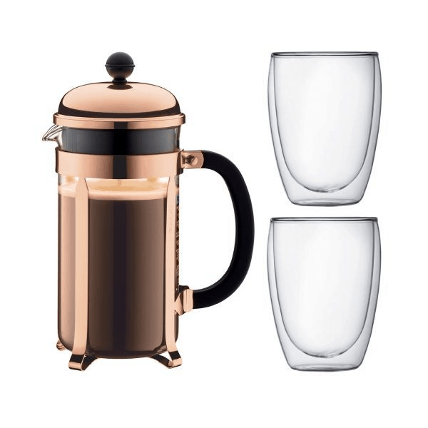 Is bodum chambord set worth the money? Yes, because the Bodum Chambord Set French Press Coffee Maker 8 cup 1L/34 oz and 2pcs Pavina Double Wall Glass 3 cup 0.35L/12oz is the Best coffee makers In Singapore