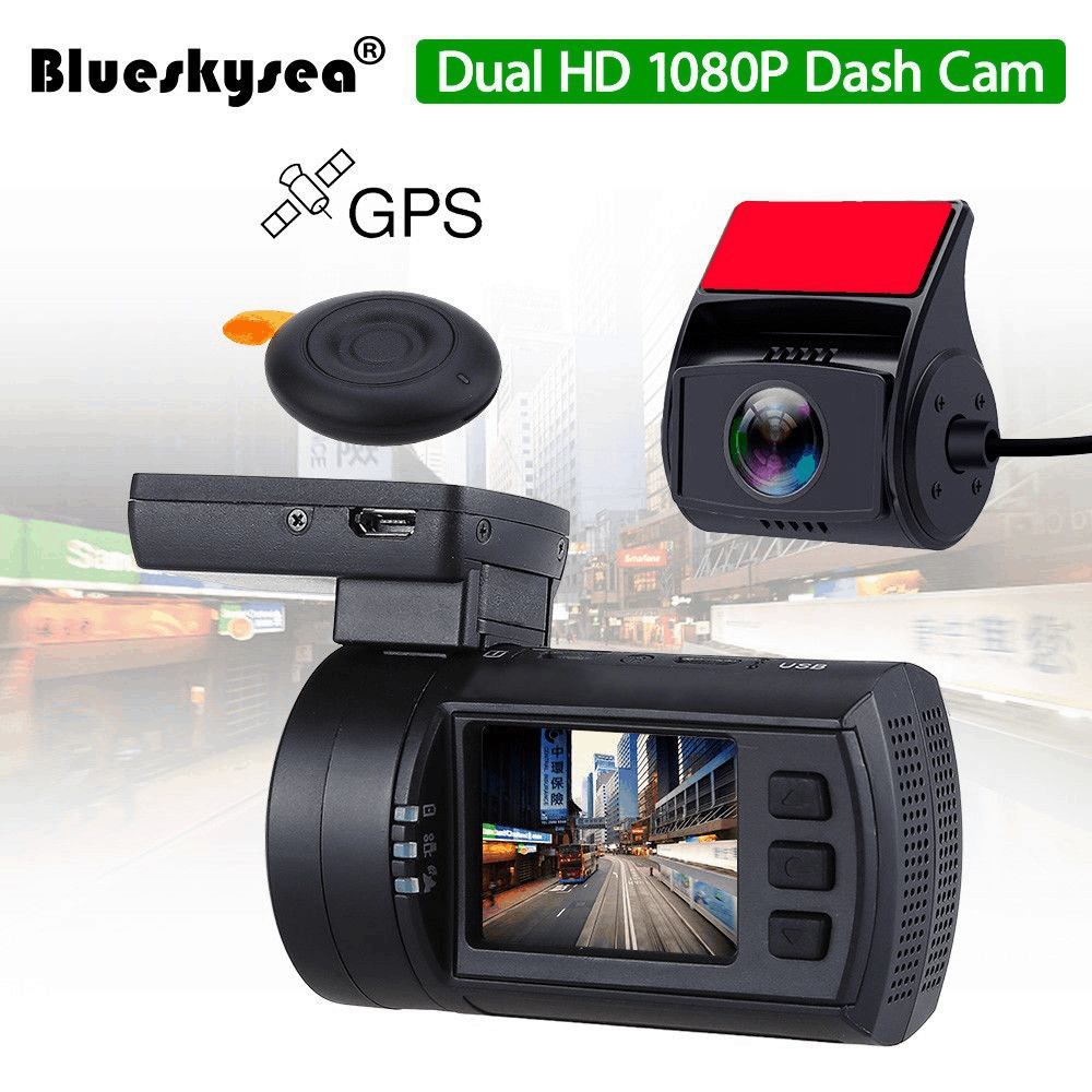 0906 Dual 1080P Lens Car Dash Camera GPS DVR Cam +Hard Wire Kit Night Vision HD
