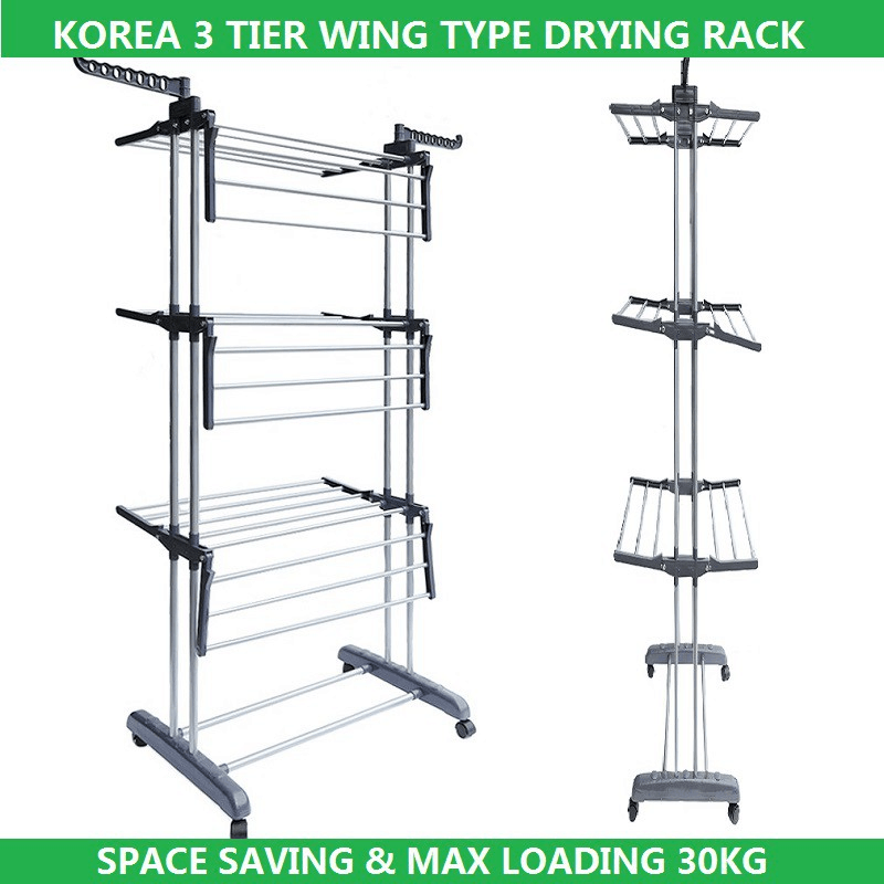 Korea 3-Tier Wing Type Drying Laundry Clothes Rack - Most Suitable for Small Spaces