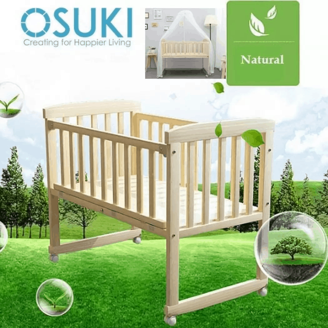 OSUKI Baby Cot Cradle (FREE Mosquito Net & Holder) Wooden Rocking is the Best Baby crib Online Store in Singapore