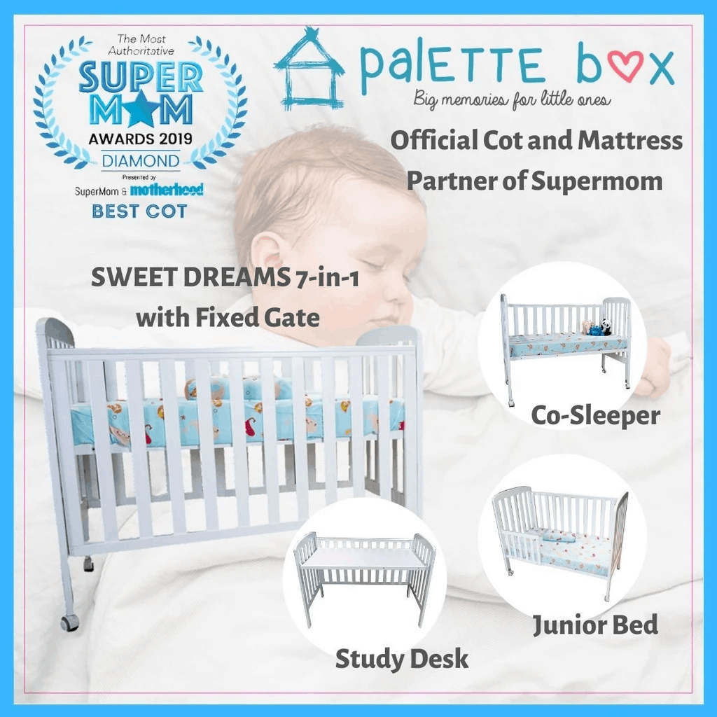 Palette Box Sweet Dreams DELUXE 7-in-1 Convertible Baby Cot + Stylemaster Mattress is Mother's favorite cot in Singapore. best for infant newborn