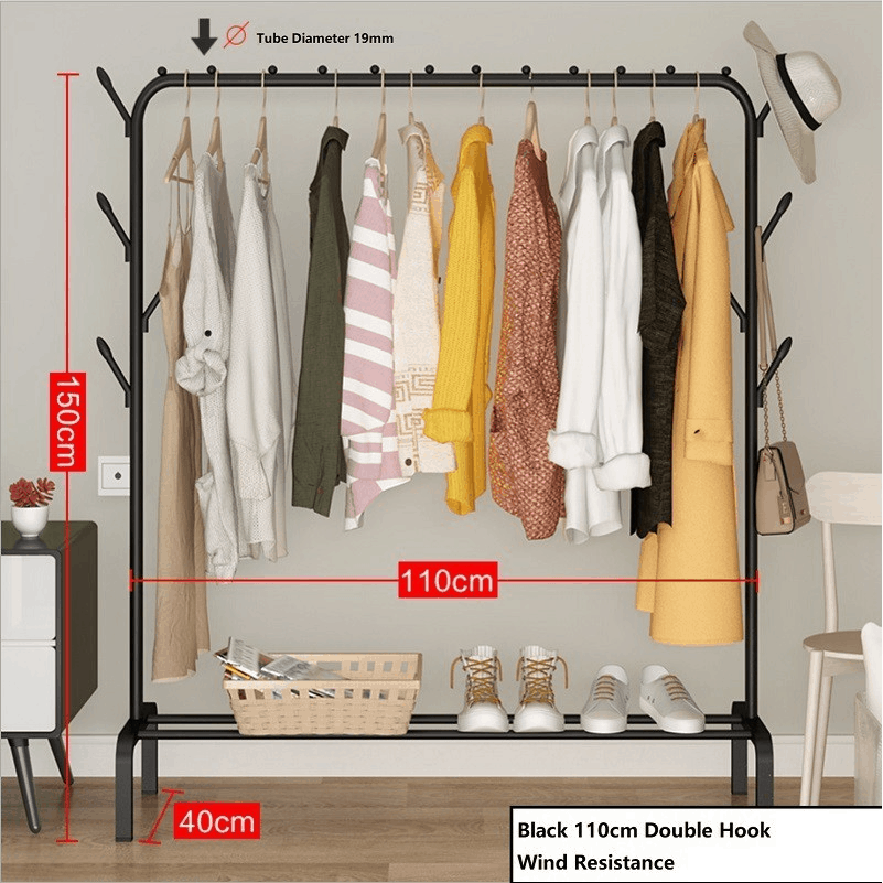 Sturdy Strengthen Steel Pipe Clothes Rack Bedroom P9 - Best Budget Clothes Drying Rack