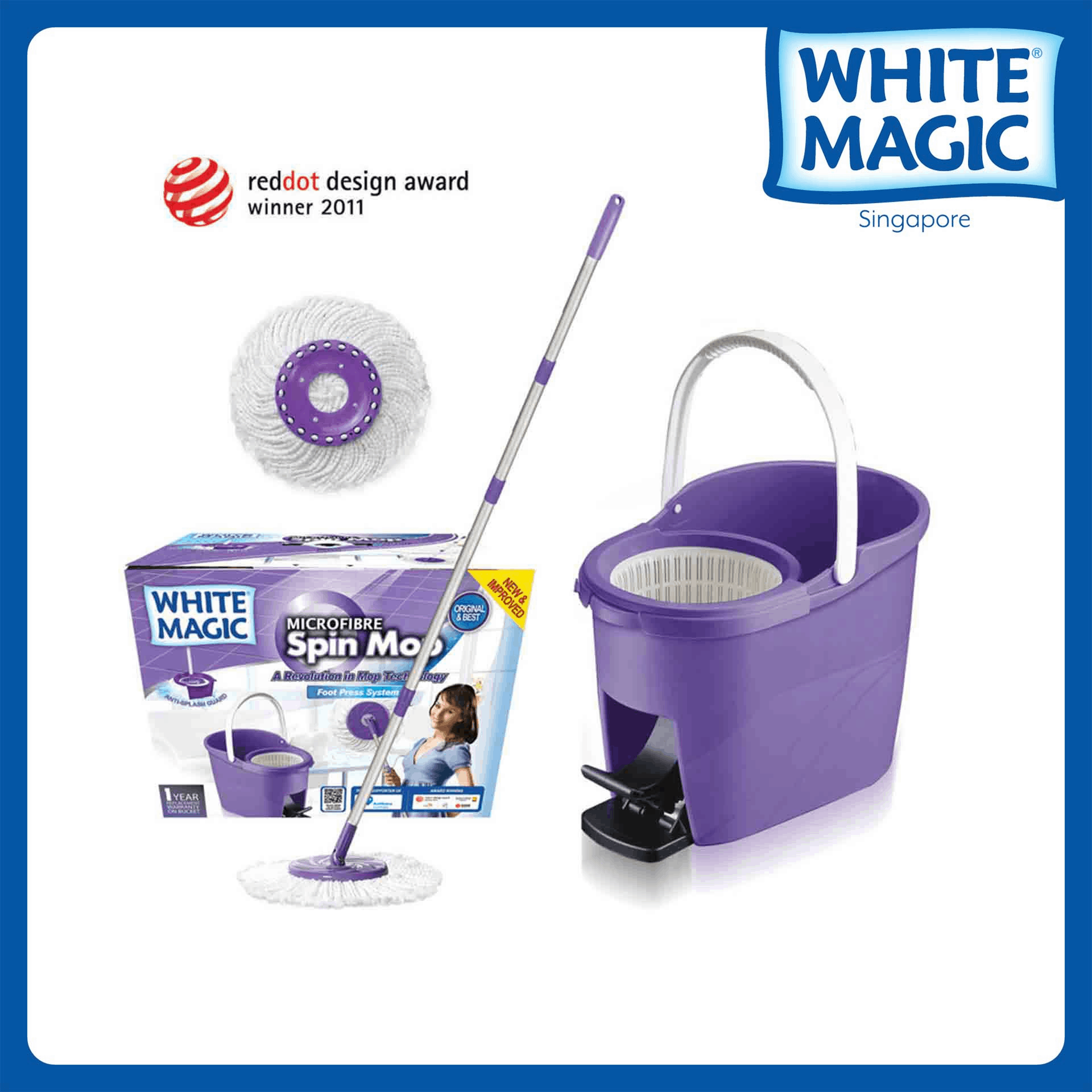 White Magic Foot Press Spin Mop Set made in Taiwan [Housewives Favorite] 1 Year Bucket Warranty