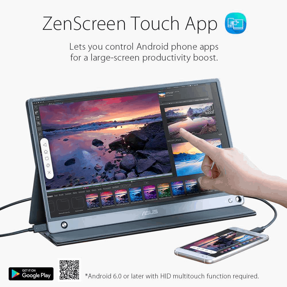 "Best Portable Touch Monitor For Professional Use is ASUS ZenScreen MB16AMT 15.6"" FHD Portable Touch Monitor"
