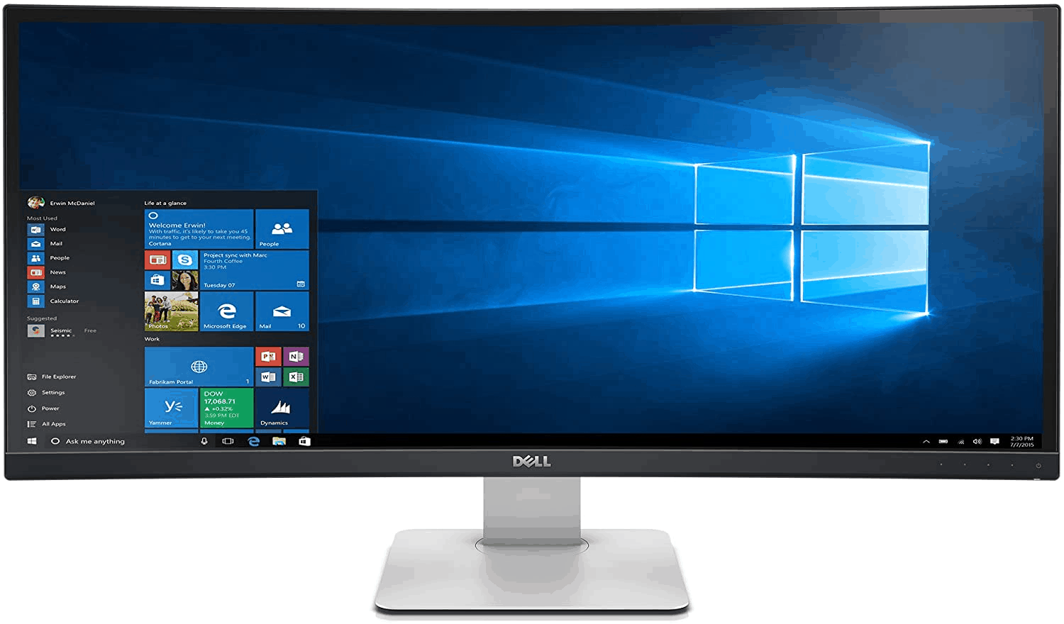 the Dell UltraSharp U3415W Best Ultrawide Computer Monitor, multiple I/O ports, good for 2 application windows, good for traders