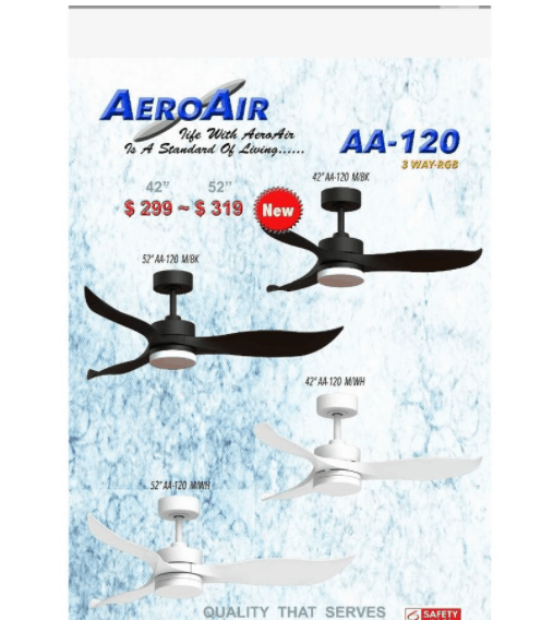 AEROAIR AA-120 Ceiling Fan is 5 Best Ceiling Fans in Singapore for Different Home Styles, KDK ceiling fan for HDB flat, ceiling fan for 4 room