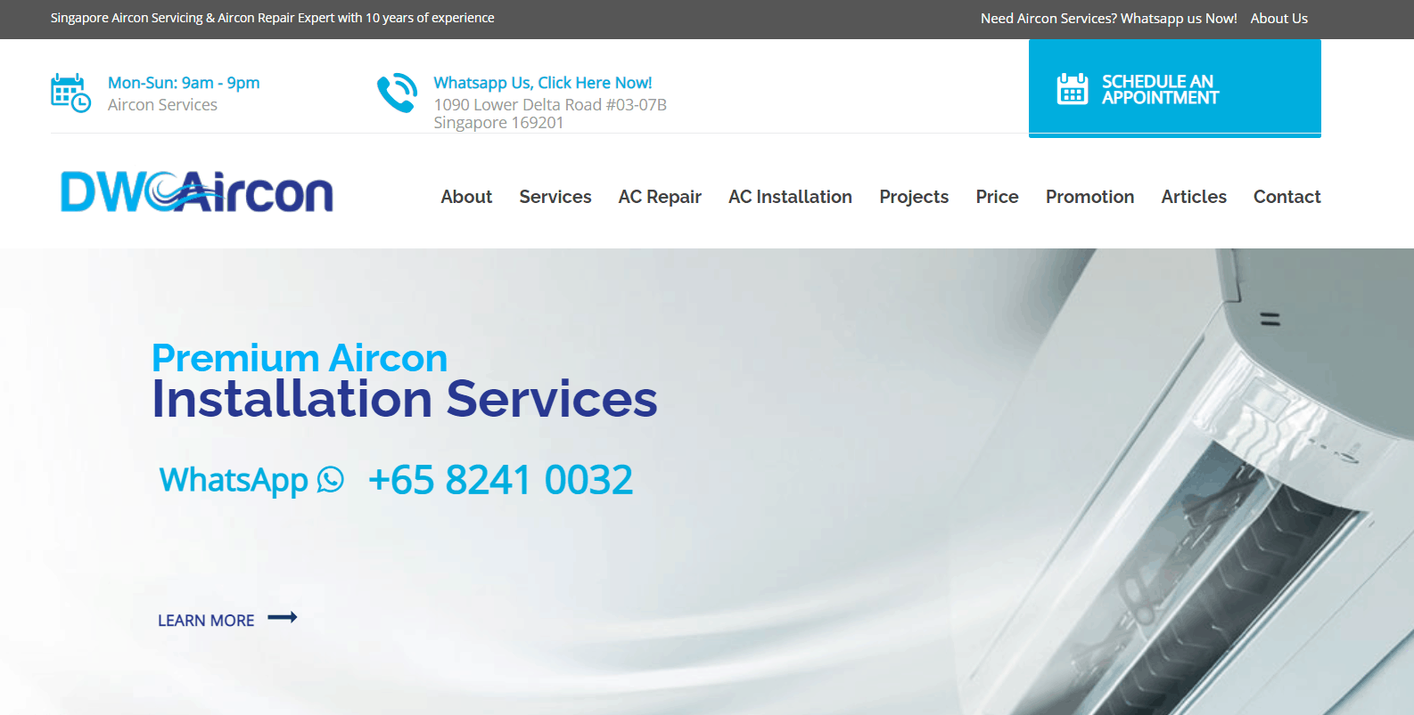 DW Aircon Servicing Singapore air-con servicing package