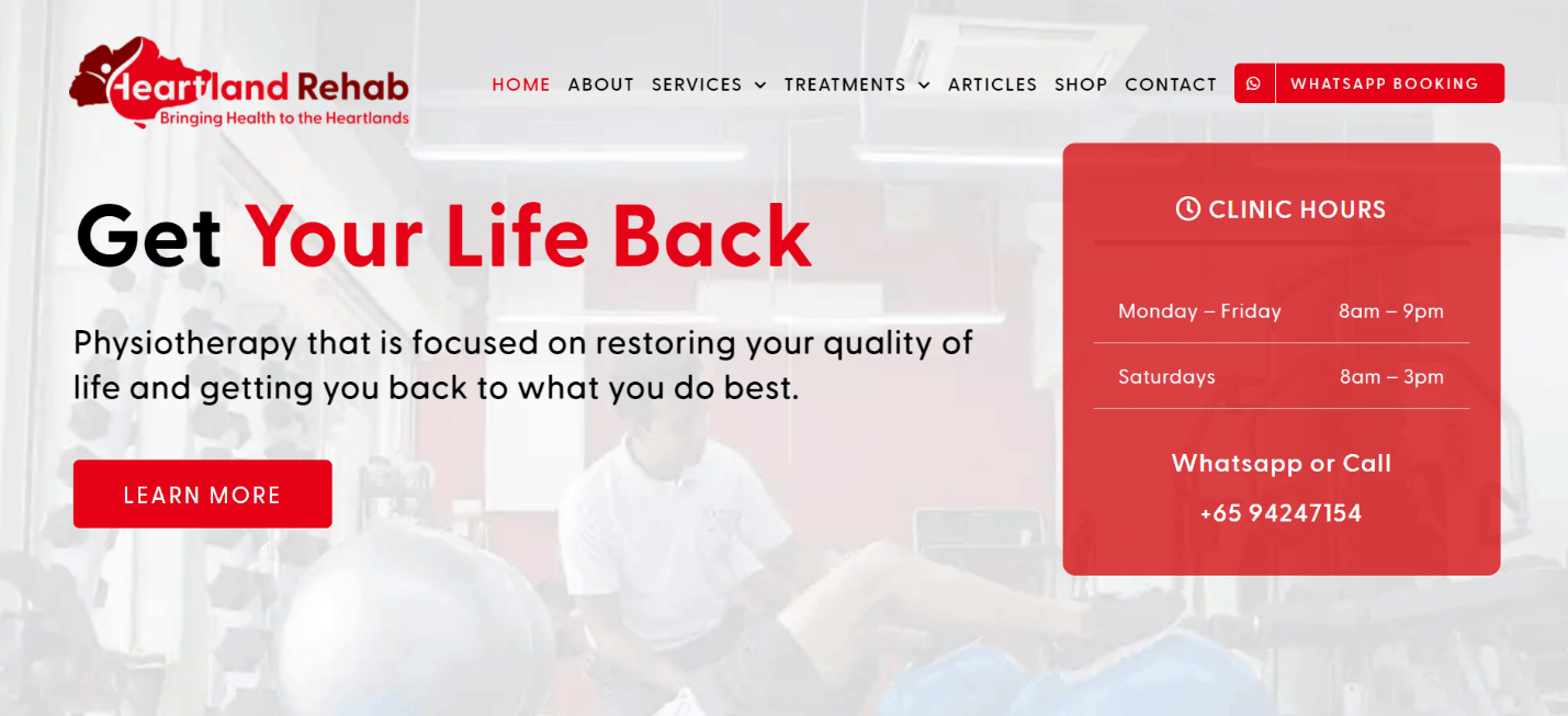 Heartland Rehab clinic in Singapore that provides physiotherapy and rehabilitative exercises for its patients
