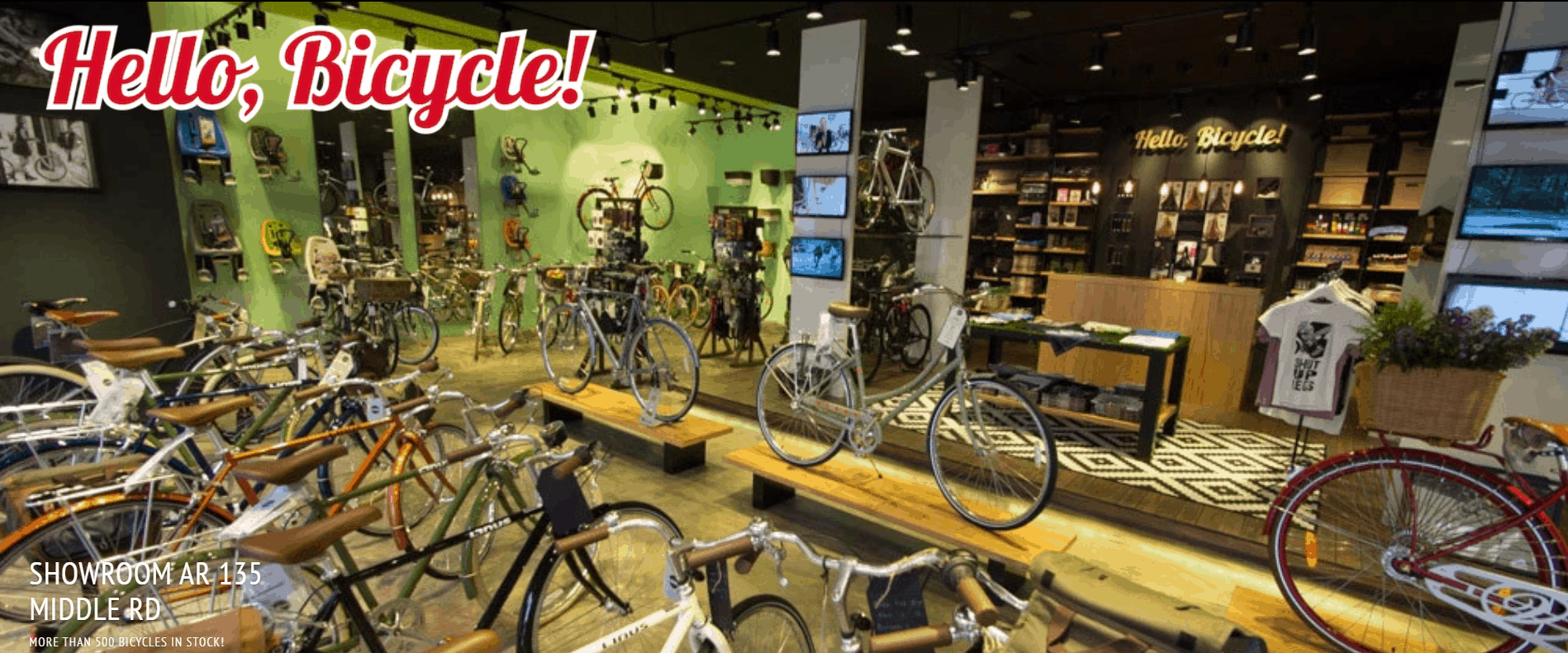 Hello, Bicycle! is the best shop to buy folding bicycle, leisure bicycle, kids bicycle, bicycle lock, vintage bicycle, bicycle helmets or bicycle shop in Singapore