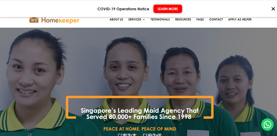 Homekeeper is the Top Trusted Maid Agencies in Singapore. hiring a maid during covid phase 3 is difficult as mom has tightened the issuance of work passes for foreigners.