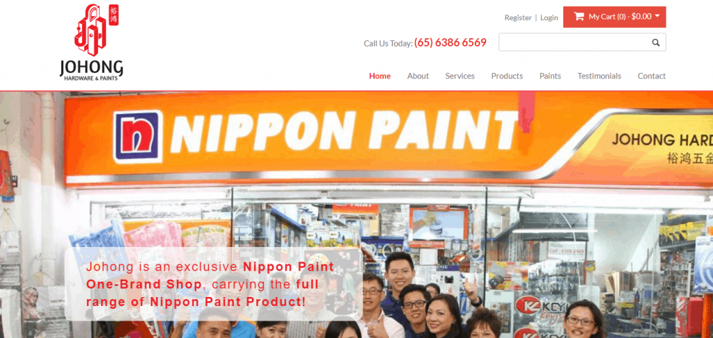 Johong Hardware & Paints is an online hardware store supplier in Singapore. brick and mortar store painting work, handyman, nippon paint, painting for HDB electrical wiring licensed electrician pumbler