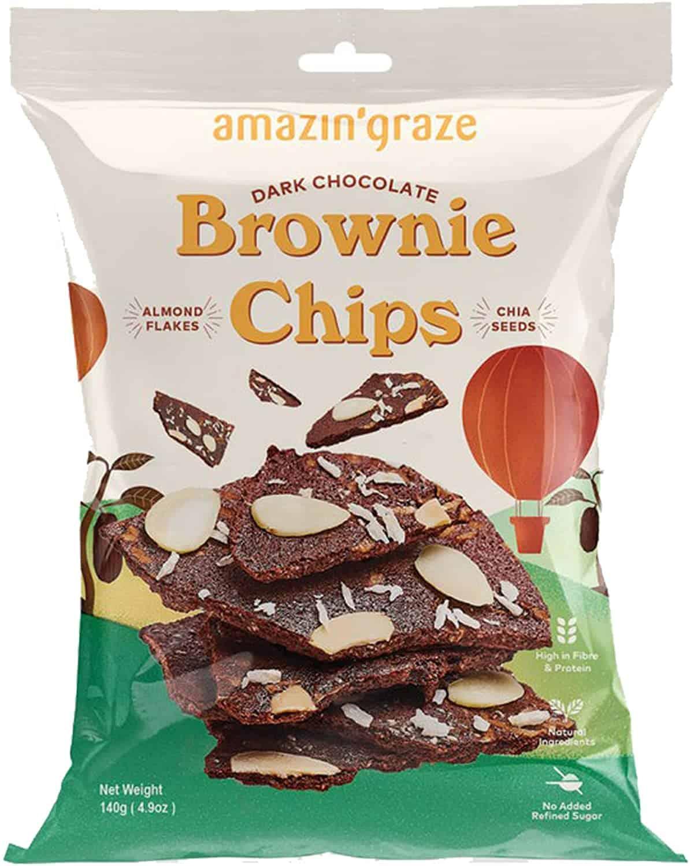 Amazin' Graze Dark Chocolate Brownie Chips, 140g is the top 10 Popular Snacks in Singapore, 25 Super Shiok new year cny, hari raya Snacks All Singaporeans Need ASAP