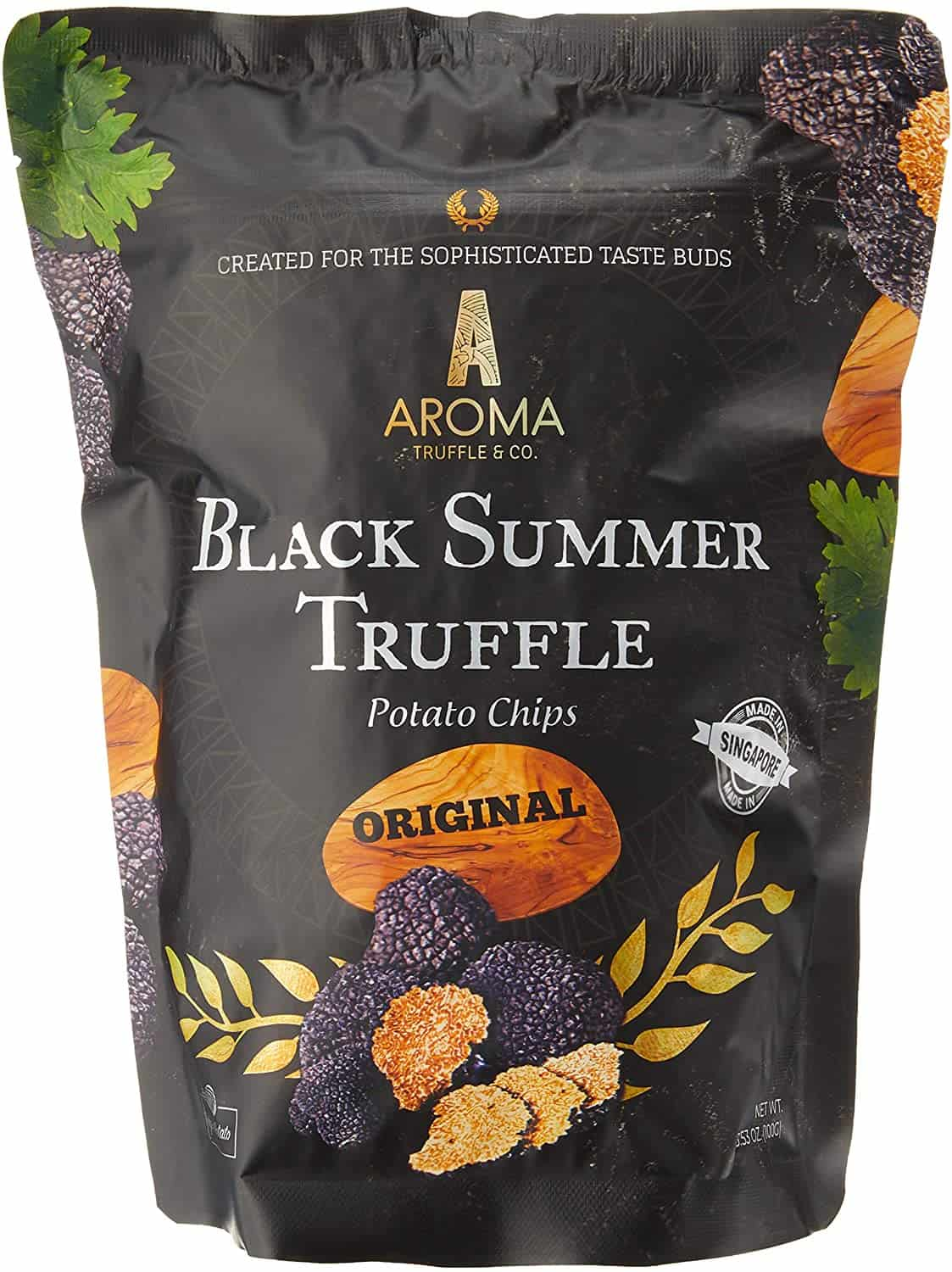 Aroma Chips Black Summer Truffle Chips (Original) is the top 10 snacks in Singapore, finest Black Summer Truffles harvested from the Italian suburbs, sprinkle real black truffles to made the crisps as flavorful and tasty as possible