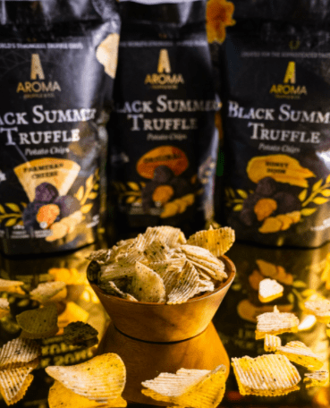 Aroma Truffle & Co. Black Summer Truffle Potato Chips is the Top 10 Best Potato Chips in Singapore, thick and crunchy ridge-cut potato chips are smothered with the finest grade of olive then sprinkle with truffle, taste of truffle is really strong and deep