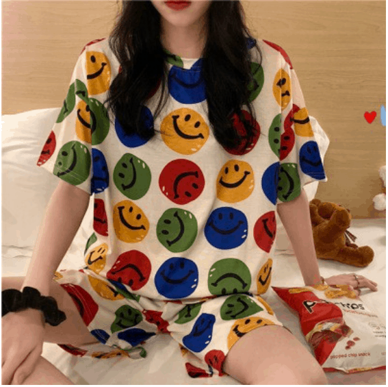 Buy Women's PLUS SIZE Clothing Online, Printed Lounge Set, Fabulous plus-size clothing in Singapore with sizes up to UK 30, Size M-XXL Korean style ladies pajamas milk silk pajamas home wear pajamas