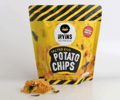 Irvins Salted Egg Potato Chips is the number 1 selling chips in Singapore, formulated by our expert chefs in Singapore, made in singapore food product, popular addictive chips, fish skin salted egg