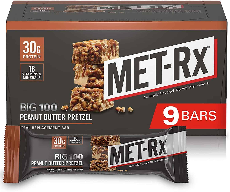 MET-Rx Big 100 Colossal Protein Bars, Peanut Butter Pretzel, 100g