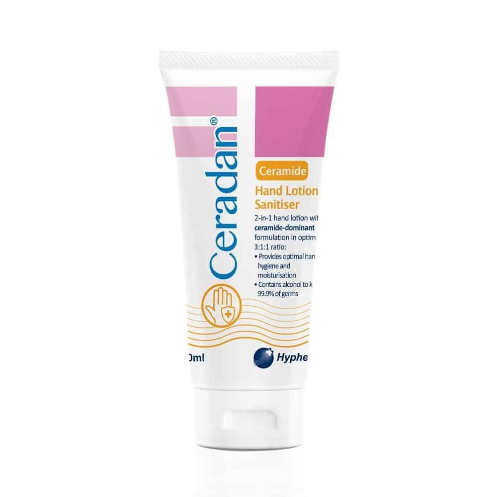 Ceradan Hand Lotion Sanitizer is top 10 good hand sanitisers that won't dry out your hands, hand sanitizer that doesn't dry hands, high-performance hand lotion sanitiser that protects your hands against harmful germs and moisturises with ceramide, hand sanitizer spray