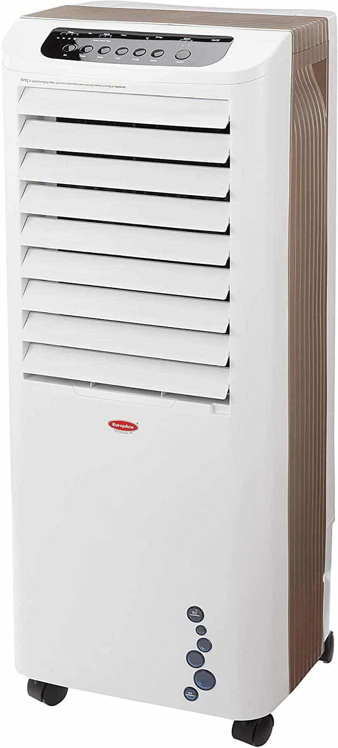 EuropAce ECO 5802T 5-IN-1 Evaporative Air Cooler is top 10 Best Air Coolers in Singapore to Beat the humid summer Heat this year, this air cooler comes with Washable Water Pump and we have an Ice Cube Compartment for Better Cooling Efficiency, the thick Honey Comb Filter