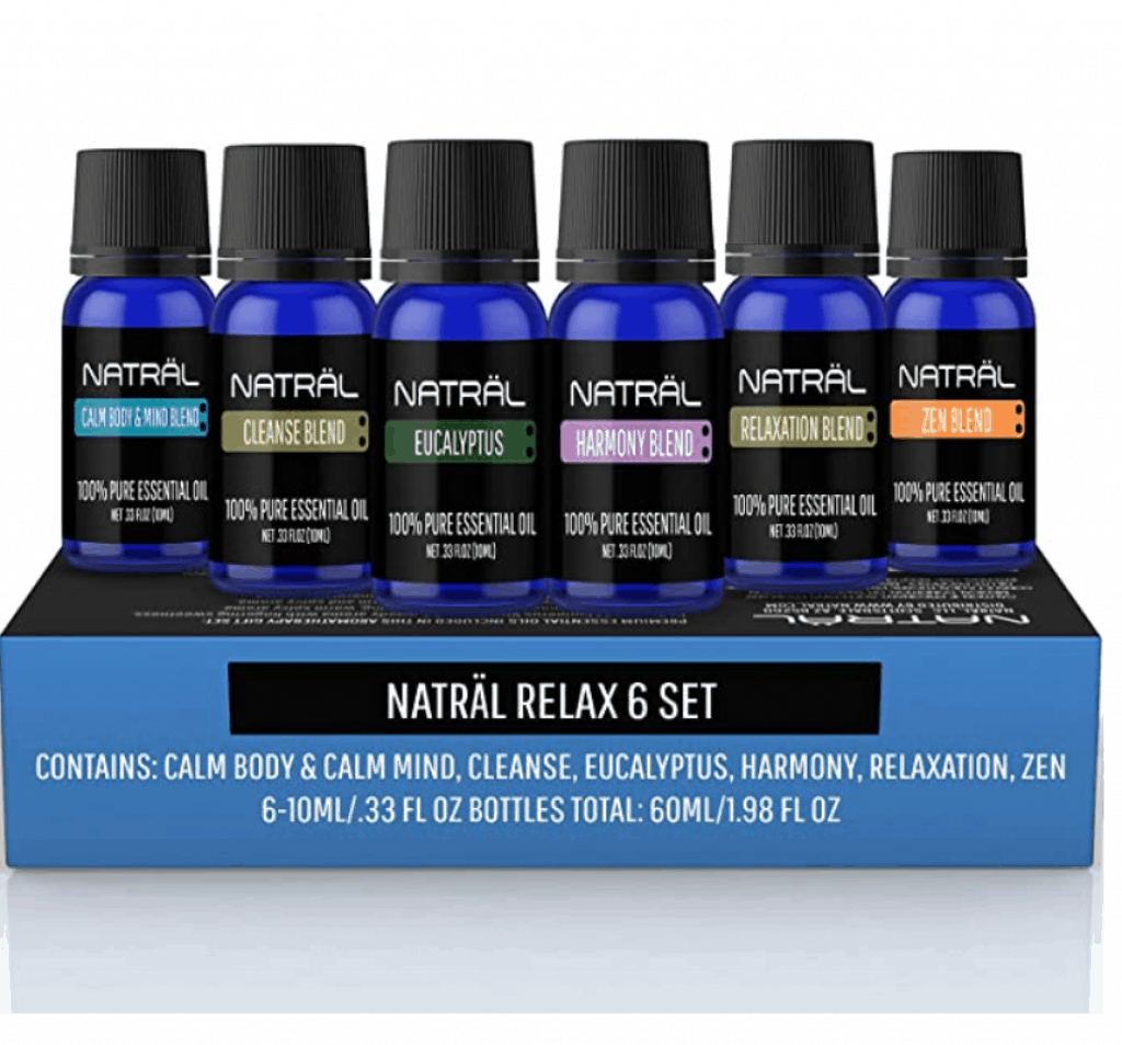 NATRÄL Top Blends Set of 6, 100% Pure and Natural Essential Oil, Top 6 Blends Essential Oils Set - Aromatherapy Diffuser Blends Oils for Sleep, Mood, Breathe, Muscle Relief, Temptation, Feel Good, Anxiety Relief