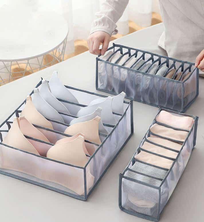 Moving-In Checklist: 20 Home Essentials Every House Needs, Best Budget Stores In Singapore To Buy Toiletries For Cheap, Underwear Storage Box, Storage Boxes / Closet Drawer Underwear Separated Organizer, What is the best way to store underwear?,How do you store underwear in closet without drawers?,How do you store bras and underwear?