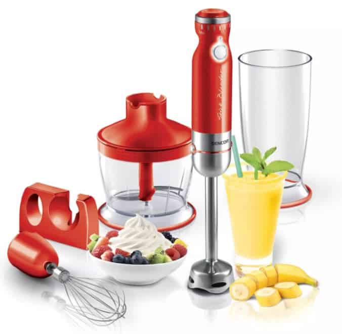 Sencor Hand Blender Set in 9 Colours is Top Performing 10 Immersion Blenders of this year, can set up to 20 speeds on the rotary knob to handle both soft and hard food products, handheld blender reviews