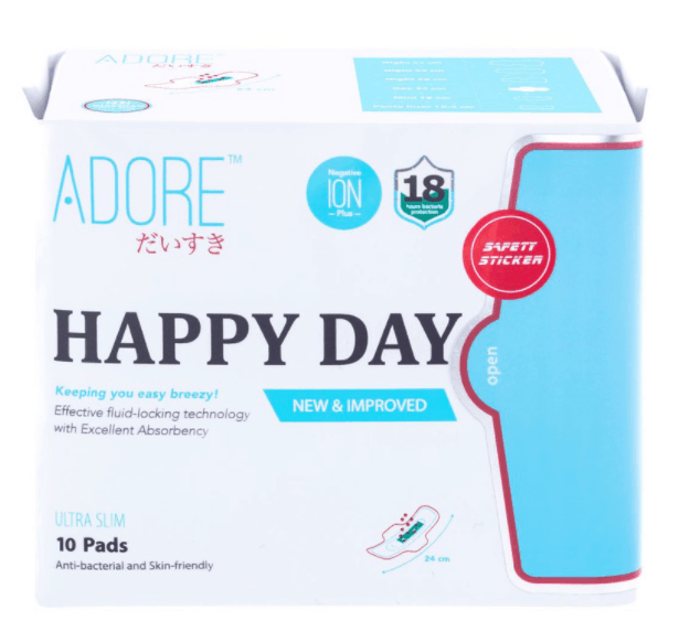 Adore Happy Days Ultra Slim Negative Ions Plus is The Best Sanitary Pads in Singapore for Your Period, Menstruation and the workplace