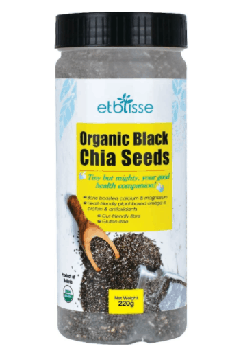 Etblisse Organic Black Chia Seed is Best chia seed brand Singapore, Is it safe to drink chia seeds in water everyday?, Does chia seeds in water help you lose weight?, boosting digestive health, metabolic rate, high iron, Omega-3 content and good fats, How long should you leave chia seeds in water?, Soak the seeds in almond milk or water