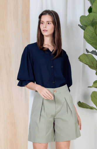 Buttoned Shirt with Gathered Sleeves is top 10 last-minute sister gifts to get in Singapore, best Sister Style for sister who doesnt know What To Wear