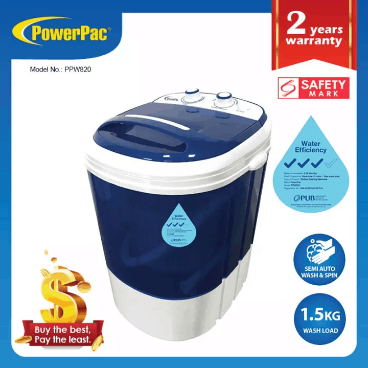 PowerPac 2in1 Mini Washing Machine 1.5kg PPW820 is the Best Washing Machine for Single Person/ Couple, What is the smallest size of washing machine?, Which is best mini washing machine?, Is a 6kg washing machine too small?, Are portable washing machines worth it?